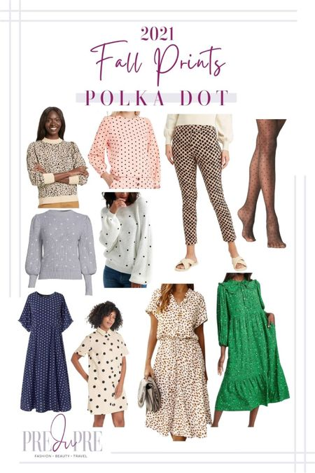 Fall prints that are in style this season. Fall doesn't just mean solid and texture pieces, but fun colorful prints too. Read more about the prints in style at my blog www.predupre.com  http://liketk.it/3mS4k  polka dot print, polka dot sweater, polka dot pants, polka dot dress, sweatshirt, sweater, pants, stockings, tights, dress, fall outfit, fall clothing, fall staples  #LTKstyletip #LTKSeasonal