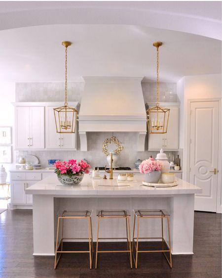 Gold lanterns, counter stools (SALE), tray, ginger jar  Kitchen home decor & countertop decor   #LTKhome #LTKsalealert #liketkit @liketoknow.it http://liketk.it/2VrN9