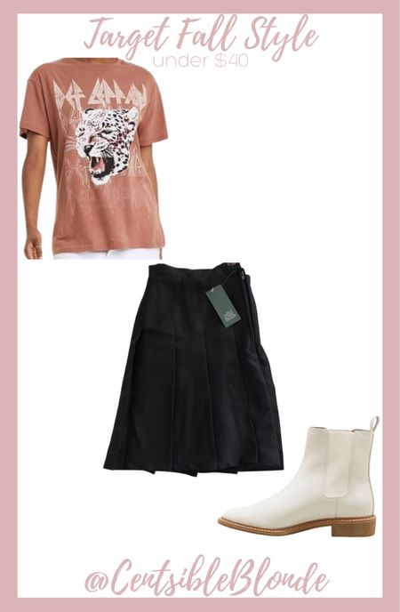 Fall style from Taget Graphic tee with skirt and boots Band tee with black plates skirt and bone boots    #LTKunder50 #LTKtravel #LTKshoecrush