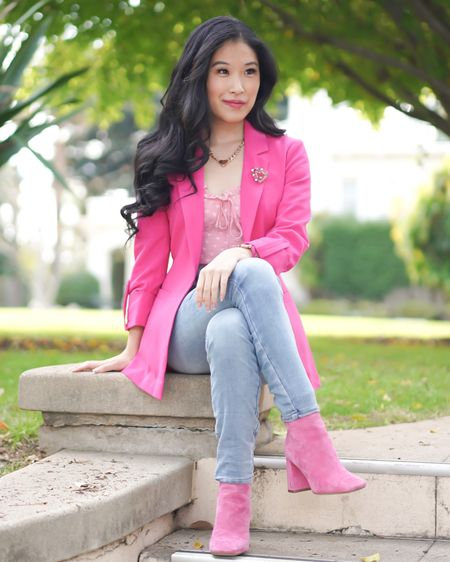 Be stylish and a boss in a hot pink blazer paired with some heart accessories and a heart top! http://liketk.it/37Y4V #liketkit @liketoknow.it #LTKVDay   Follow me on the LIKEtoKNOW.it shopping app to get the product details for this look and others