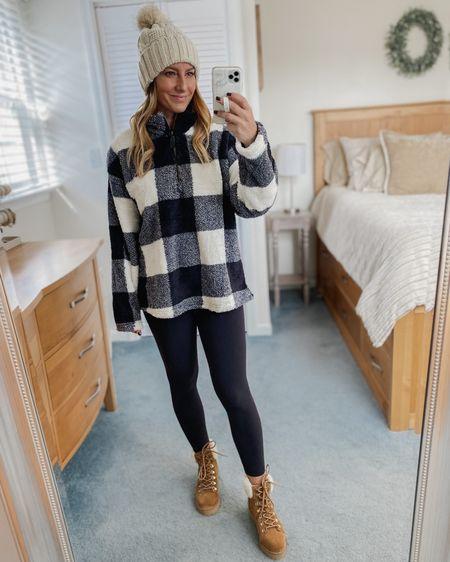 Buffalo checkered fleece, black leggings, brown fur boots, beanie  http://liketk.it/31SPR #liketkit @liketoknow.it #LTKunder50 #LTKshoecrush