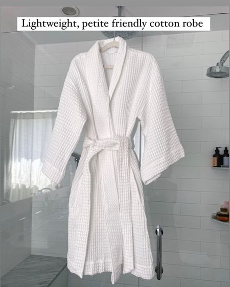petite friendly robes can be hard to find! This one runs small and xs fits perfectly on me with the sleeves hitting bracelet length. Material is a lightweight 100% waffled textured cotton and this has been breathable and nice for warmer weather when drying my hair and putting on makeup. Note the lapel is backed with an interfacing material to add stiffness to it, so if that comes out a bit in the wash (it hasn't yet for me), it doesn't affect the actual robe.  #petite   #LTKunder50 #LTKunder100 http://liketk.it/3fyK2 #liketkit @liketoknow.it