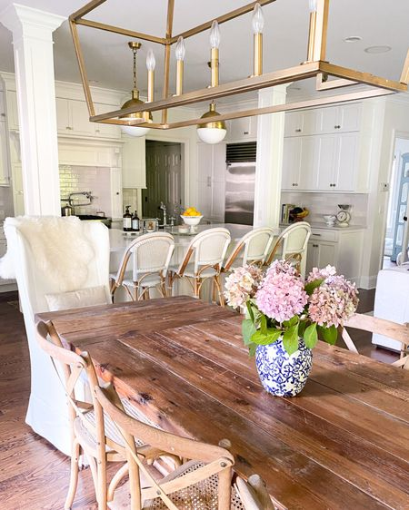 Kitchen table and chairs, farmhouse table and chairs, chandeliers, Serena and Lily barstools, kitchen pendant lights  http://liketk.it/3kplO #liketkit @liketoknow.it #LTKhome @liketoknow.it.home