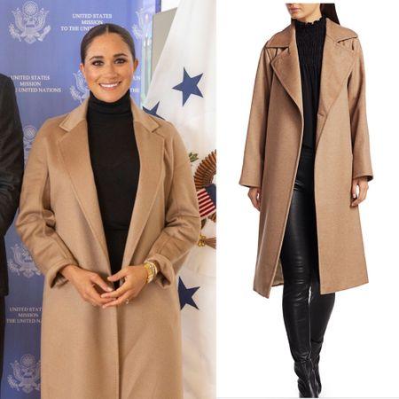 Meghan wearing Max Mara Manuela coat #camel #fall #fashion #duster #wrapcoat  #LTKstyletip