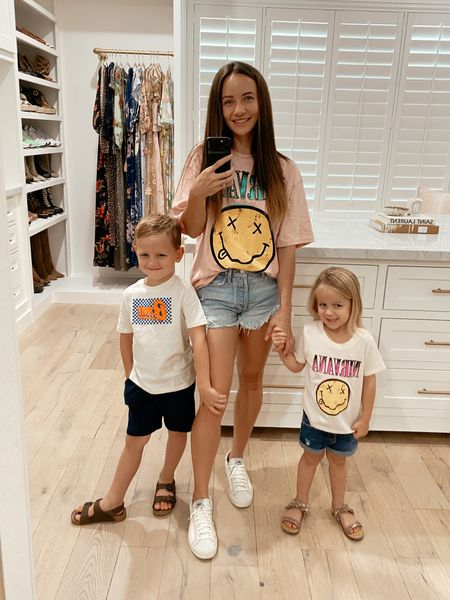 Graphic band tees kids outfits matching mommy and me band tees favorite denim shorts. Women's tee is long and looks cute with biker shorts too!   #LTKkids #LTKbacktoschool #LTKunder50