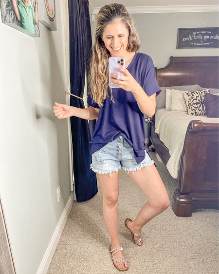 Skyler sandals back in stock!! Half up a size!! Comfy, soft top coming in 13 different colors!! Shorts are the perfect amount of distress and no cheeks showing!!   http://liketk.it/3fms3 @liketoknow.it #liketkit #LTKstyletip #LTKshoecrush #LTKunder50