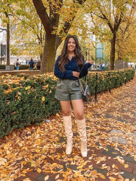 ✨ all the fall things ✨  Boston's leaves were in the middle of changing while we were there this weekend and I was living for it! I've said it before, but fall is the prettiest season IMO! Had to stop and get a pic with these leaves before heading into the bar to watch the Red Sox/Astros game — and I may not be a baseball fan but I was a HUGE fan of the clam chowder at the bar 🤪  P.S. use code CAREY40 to get my faux leather shorts 40% off!!  #LTKSeasonal #LTKunder100 #LTKsalealert