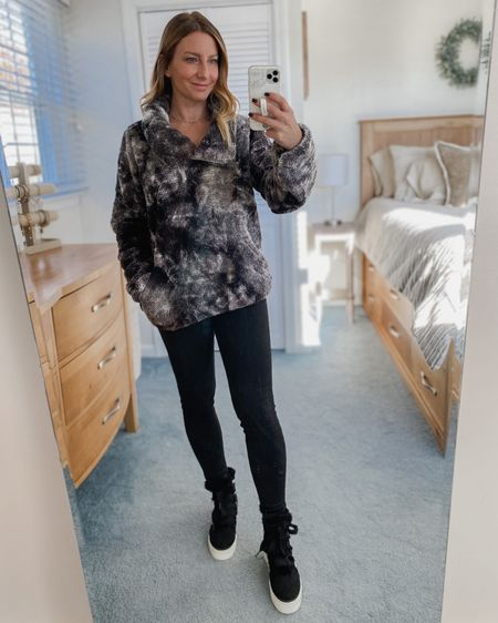 Tie dye black fleece zip up, black leggings, black fur boots  http://liketk.it/317Ma #liketkit @liketoknow.it #LTKunder50 #LTKstyletip #LTKshoecrush