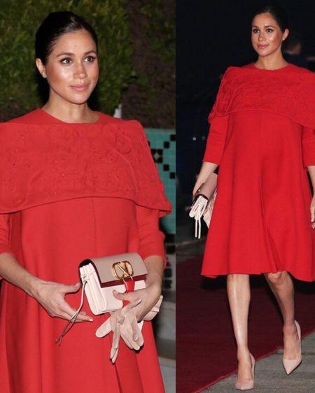 Meghan Markle in Morocco in Red Valentino Shoulder Wrap Dress + Valentino Garavani Vring Colorblock Small Crosdbody Bag + Natalie Marie Diamond Sun Studs http://liketk.it/2GpJj #liketkit @liketoknow.it