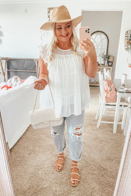 Spring outfit, Swiss dot, babydoll top, plus size, studded sandals, beach hat, vacation outfit, summer outfit http://liketk.it/3decC #liketkit @liketoknow.it #LTKcurves #LTKunder50 #LTKshoecrush