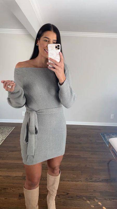 Off the shoulder sweater dress from Amazon fashion, under $40 and medium   #LTKSeasonal #LTKsalealert #LTKunder50
