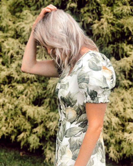 Lemon print sun dress. Puff sleeves. Runs big, size down 🍋 http://liketk.it/2Pxbc #liketkit @liketoknow.it #LTKsalealert #LTKunder50 #LTKstyletip H&M, summer dresses, sundresses, vacation dress, brunch style, botanical, palm print dress, budget, mini dress