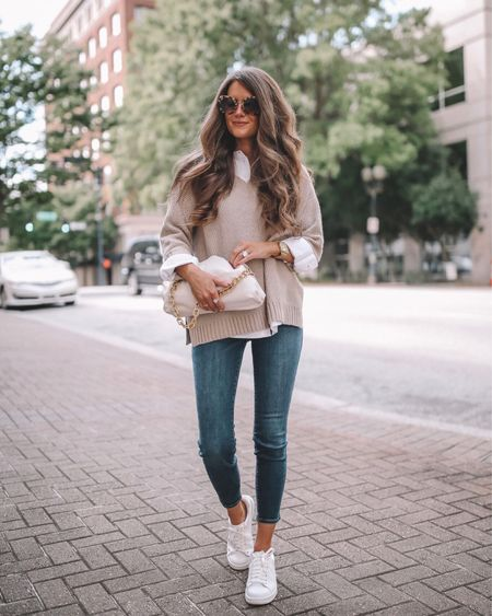 Casual fall outfit! 🍂 Collard shirt, white button up, neutral sweater, layered outfit, Walmart finds, white sneakers, white handbag, skinny jeans, cmcoving, Caitlin Covington, fall fashion, fall finds, Miu Miu sunglasses, Michele watch   #LTKunder100 #LTKunder50 #LTKSeasonal