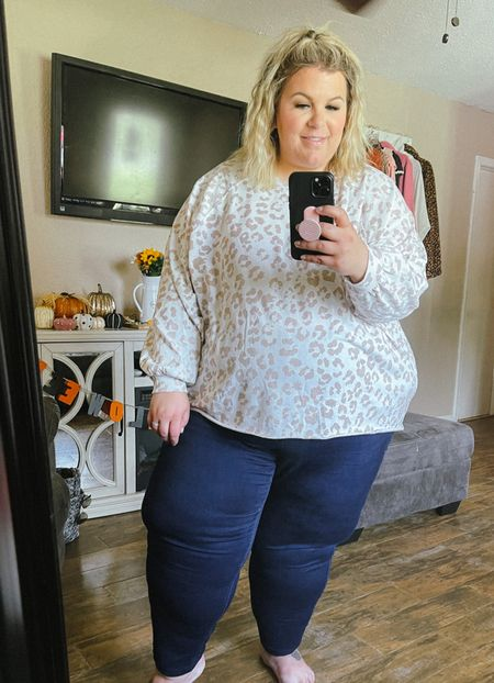 This casual leopard plus size lounge top can also be worn with jeans for a more dressed up look. Comes in several other prints! A perfect cozy plus size fall wardrobe piece!   #LTKcurves #LTKstyletip #LTKunder50