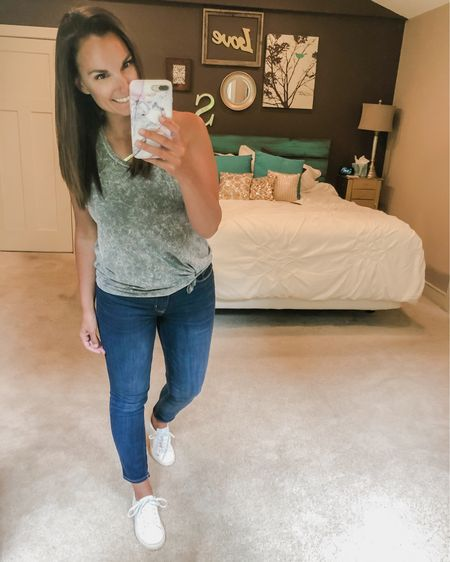 Another Target win! Love this subtle tie dye racerback tank. I've done the ol' belt loop and tie trick to make it look knotted. These jeans are on sale right now too!   http://liketk.it/2StOT #liketkit @liketoknow.it