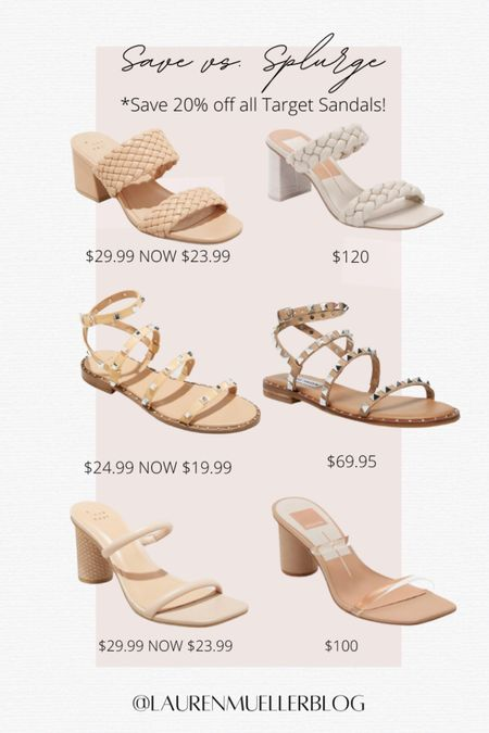 save vs splurge sandals // spring summer women's sandals // budget heels // budget sandals // women's sandals on sale // target heels // target sandals // designer dupe sandals   http://liketk.it/3an6J #liketkit @liketoknow.it