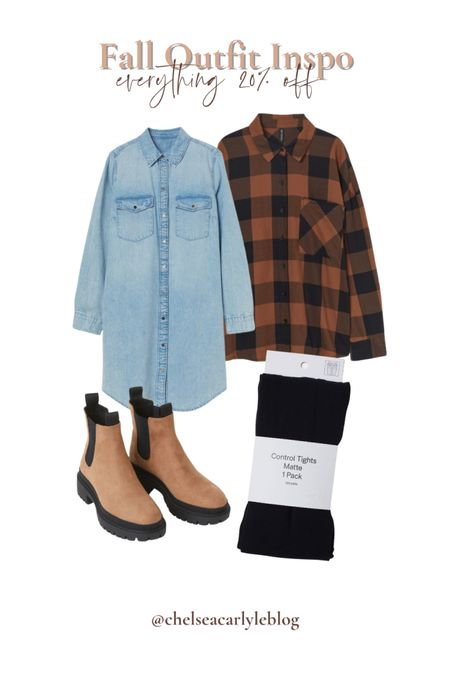 Fall feels! How cute is this fall outfit? Perfect for apple or pumpkin picking. Get 20% off everything + free shipping through 8/22.  | fall flannel | plain flannel | hm | H&M | boots | fall shoes | denim dress |    #LTKunder50 #LTKSeasonal #LTKsalealert