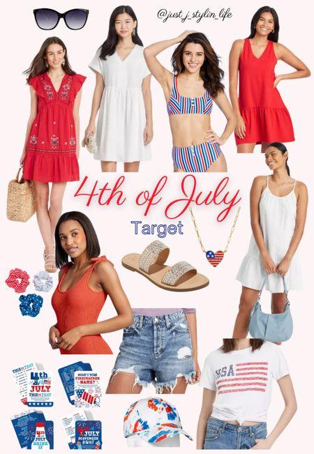 4th of July Target finds. Embroidered dress, white dress, striped bikini swimsuit, patriotic red white and blue scrunchies, denim shorts, USA tee, gemstone necklace, tie dye hat, drinking game. http://liketk.it/3hMO3 @liketoknow.it #liketkit #LTKstyletip #LTKunder50 #LTKunder100 #LTKswim #LTKfamily