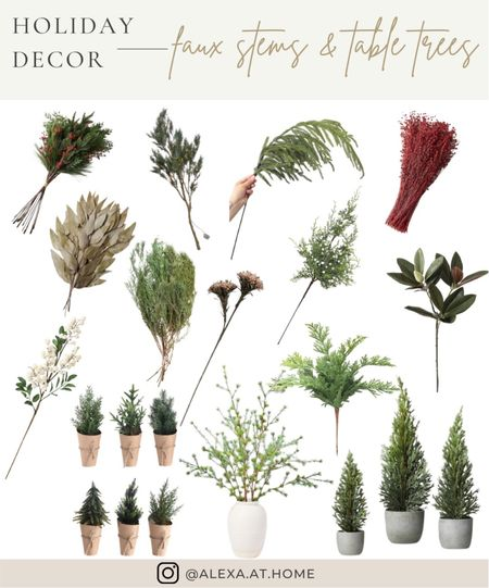 Holiday decor - faux stems and table top trees   Faux stems, holiday faux stems, faux greenery, faux botanicals, vase fillers, faux winter greenery, winter stems, table top trees, faux pine stems, table Christmas trees   #LTKhome #LTKHoliday #LTKSeasonal