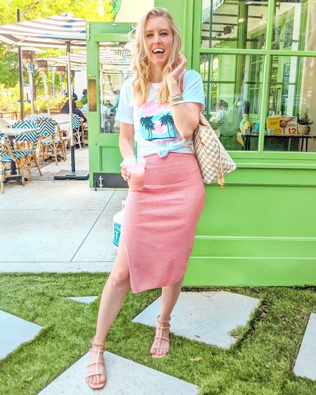 Pink Lily outfit. Sunshine self-care graphic tee, pink fitted midi skirt, beige stud sandals, white checkered tote. Summer look, summer outfit, casual style, trendy. http://liketk.it/3icS4 @liketoknow.it #liketkit #LTKstyletip #LTKunder50 #LTKunder100 #LTKshoecrush