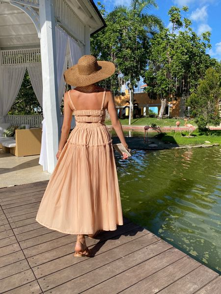 """Travel in Style: This dress in a yummy apricot color from the Responsible Edit at Asos and my whole look is available to shop """"à prix doux"""" 🌴 Ladies! Enjoy every occasion to be a woman! 💃🏻 #liketoknowit #liketoknowitstyle #liketoknowiteurope #liketoknowitfashion    #LTKeurope #LTKtravel"""