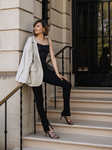 A simple outfit formula for going out again. Big blazer, cami and side slit leggings.   #LTKstyletip #LTKunder50 #LTKshoecrush