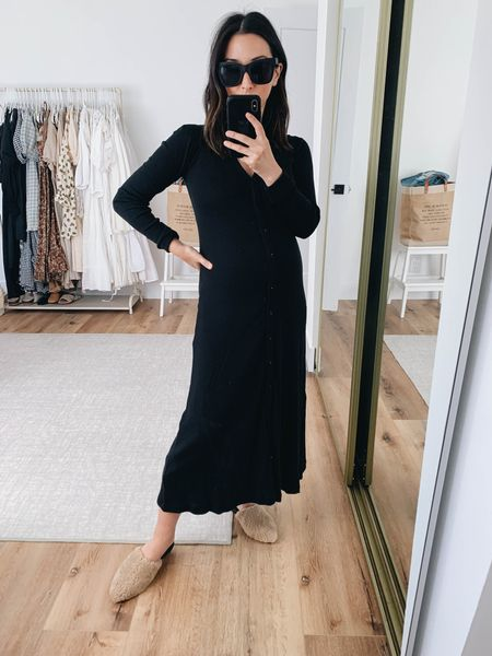 Black midi dress for fall. Sweater dress. J.crew midi dress. On sale!   Dress - j.crew xs Mules - Marc Fisher 5 on sale!  Sunglasses - Quay   #LTKsalealert #LTKbump #LTKshoecrush