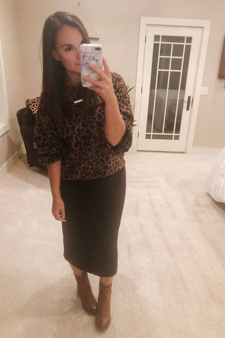 Celebrated the hubs 40th all weekend and now it's going to take all week to recover! Anyone else struggle recovering now from late nights and not enough water 😉?  Leopard sweater, black midi skirt and cognac booties are all linked up!   http://liketk.it/2X6df #liketkit @liketoknow.it