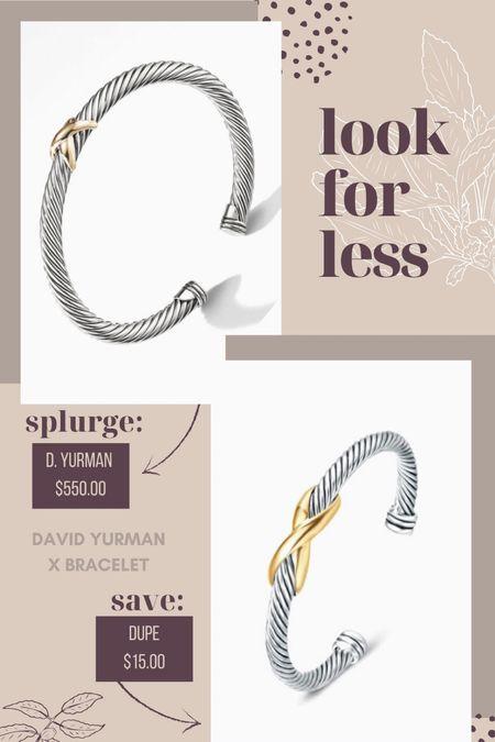 Look for Less | David Yurman X Bracelet dupe and also a great gift idea! #fallfashion #davidyurman #styledcollection fall fashion, fall style, everyday style, #LTKworkwear #LTKsalealert #LTKunder100 #LTKSeasonal #LTKstyletip  #LTKSeasonal #LTKunder50 #LTKGiftGuide