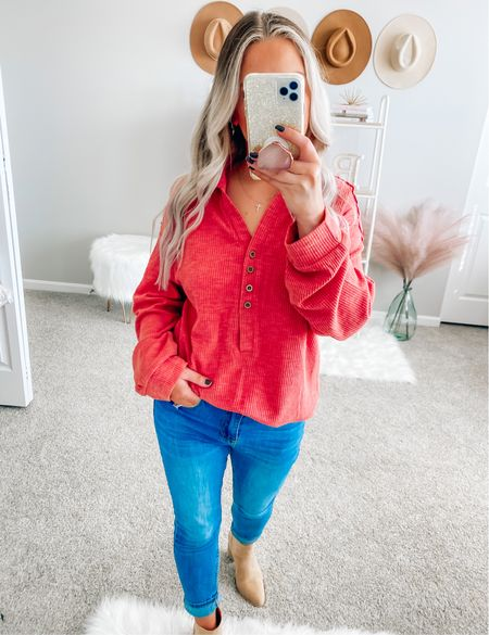 The softest top ever 😍 relaxed fit and long enough to wear with leggings! It comes in 3 colors! I'm wearing a size small!  . . . Henley, fall, fall outfits, booties, fall booties    #LTKSeasonal #LTKunder50 #LTKstyletip