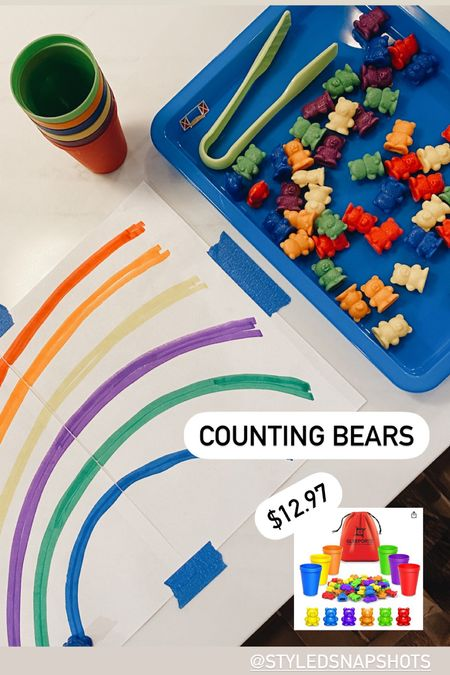 counting bears for kids // $12.97 // tray size: LARGE // Amazon #amazon #amazonfind #toddleractivities #schoolsupplies    #LTKkids