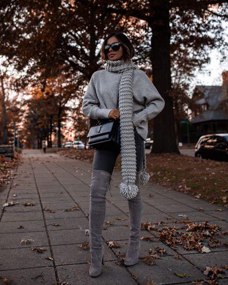Express fall outfit Express gray sweater  Express gray jeans Stuart Weitzman over the knee boots Saint Laurent sunset bag  #LTKunder100 #LTKstyletip #LTKshoecrush