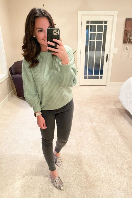 Even though it was cold today, this color still felt like spring. It's warm and cozy but a beautiful mint green. I have two more colora coming because I love how versatile this sweater is!   http://liketk.it/3dUxW #liketkit @liketoknow.it   Follow me on the LIKEtoKNOW.it shopping app to get the product details for this look and others
