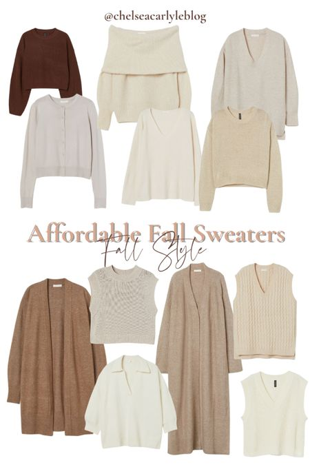 Shop neutral fall sweaters under $30. Perfect for transitioning into fall.  | fall outfit | outfit inspiration | affordable style | affordable oufits | affordable denim | jeans | denim dress | fall dress | fall wedding guest dress | trench coat | coat | jacket | neutral style | sweaters | knits | boots | Chelsea boots | button down | fall layers | hm | h&m |    #LTKSeasonal #LTKunder50 #LTKworkwear
