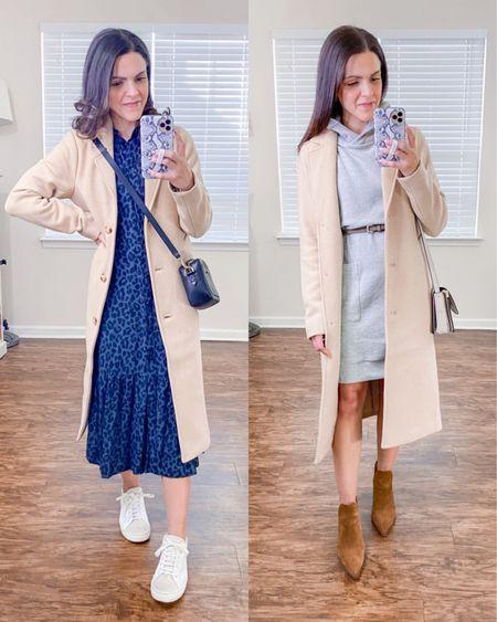 Ways to wear a Dad camel coat (xs) // style with a dress http://liketk.it/38FYB #liketkit @liketoknow.it #LTKstyletip