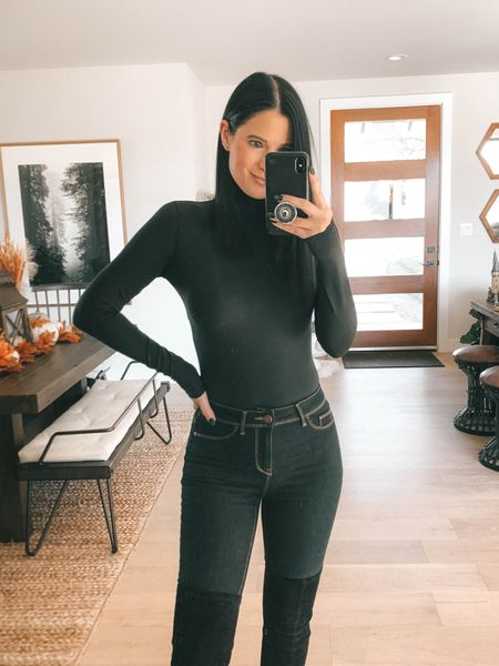 Wearing a size small in this spanx bodysuit. Use code DTKxSPANX for 10% off your order. These otk boots are 40% off with code ASHLEYH40. Size up to your next full size.    #LTKstyletip #LTKsalealert #LTKunder50