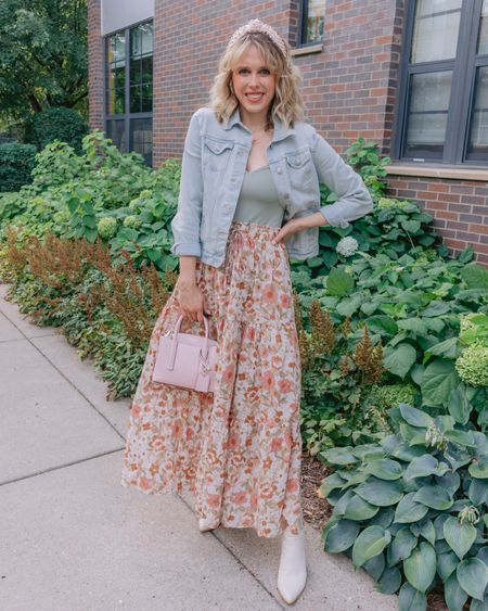 Heart says fall, temps beg to differ 😅 This fall floral skirt from @shopreddress is the perfect summer to fall piece! I was only sweating a little taking these pics 🤠 Who else is ready to bust out their fall wardrobe? . . .   #LTKunder50 #LTKbacktoschool #LTKSeasonal