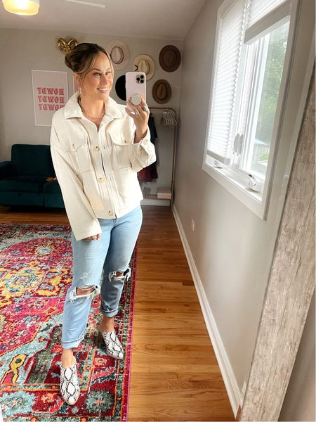 Fall outfit ideas: this wool coat is so comfy and under $20! A fall must have! Also linking these mom jeans, snakeskin mules, and black bodysuit. My necklaces and gold hoops are all amazon finds!  #LTKshoecrush #LTKsalealert #LTKunder50