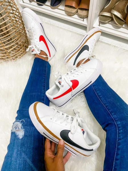 Back in stock! Look at Hipmomshops Nikes with the red swoosh-Size up .5 if you want to wear a sock or footie with it and sign into / or create an account for free shipping!   Xo, Brooke  #LTKshoecrush #LTKsalealert #LTKstyletip