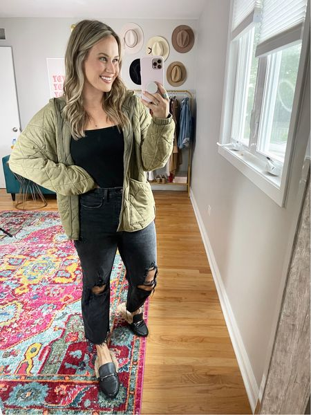 All the target finds! This fall jacket is a perfect free people dupe! Wearing a medium in the bodysuit, and quilted jacket and a size 6 in these mom jeans. These fuzzy mules are also a target find!  #LTKunder50 #LTKshoecrush #LTKsalealert