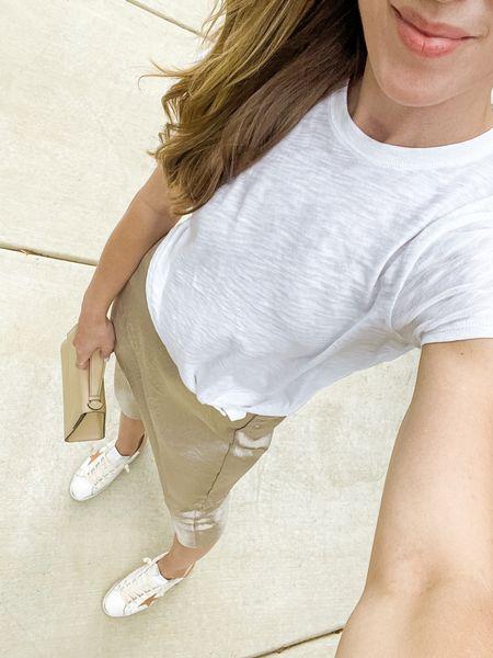 White tee, skip skirt, golden goose sneakers, and a mini bag (old).   #LTKSeasonal #LTKstyletip #LTKshoecrush