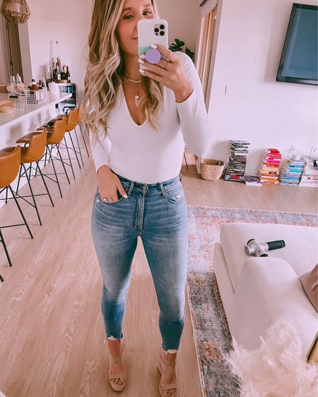 """My absolute favorite body suits! I size up because I am 5'8"""" with a long torso to a medium! They last forever and are not see through! http://liketk.it/3hujZ  #liketkit @liketoknow.it #LTKsalealert #LTKunder50 #LTKstyletip"""
