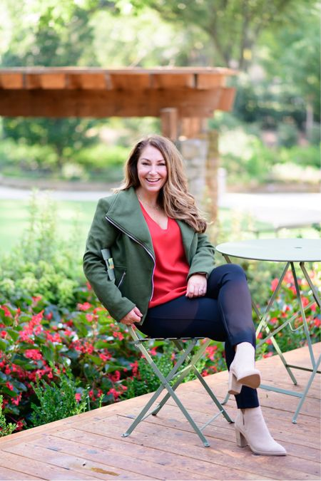 Gibsonlook x The Recruiter Mom Fall Outfit  Code RYANNE15 for 15% off all new arrivals with gibsonlook  Moto jacket, runs small, L // Pants, size up for petite, XLP // Booties //Blouse, L  Fall Style  Women's Clothing  Fall Outfits  #LTKSeasonal #LTKfit #LTKstyletip