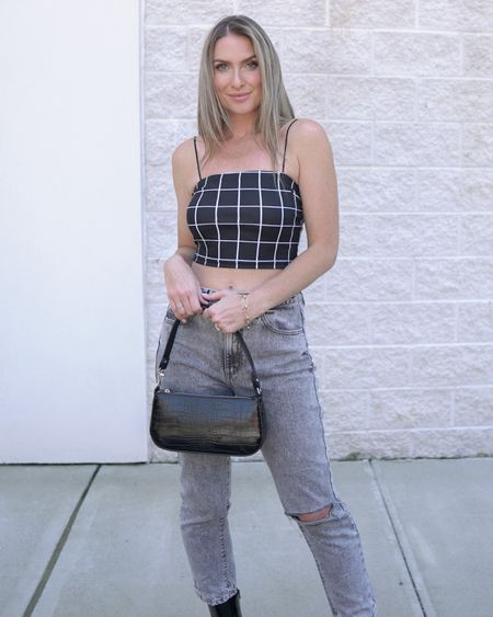 Amazon fashion Amazon finds crop top gray denim black handbag  Follow my shop on the @shop.LTK app to shop this post and get my exclusive app-only content!  #liketkit #LTKsalealert #LTKunder50 #LTKstyletip @shop.ltk   #LTKsalealert #LTKshoecrush #LTKstyletip
