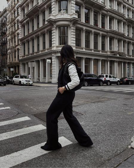 Varsity Jacket + Wide Leg Pants
