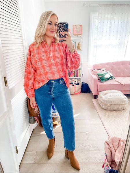 Fall plaid button down plaid blouse   #LTKSeasonal #LTKstyletip #LTKunder50