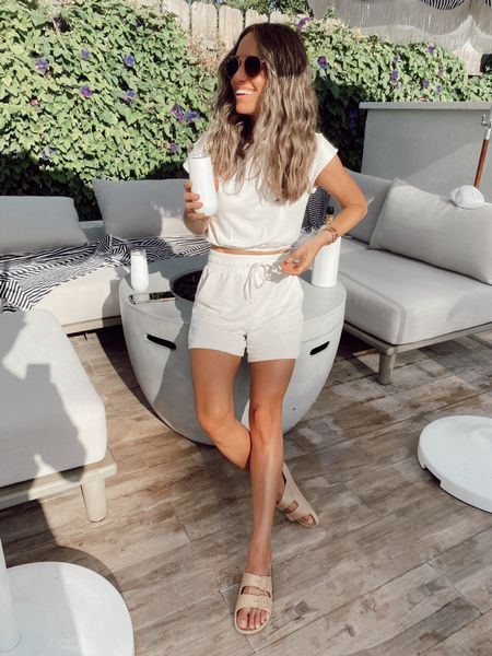 Two piece summer lounge set. Runs true to size and comes in black and grey //   #LTKstyletip