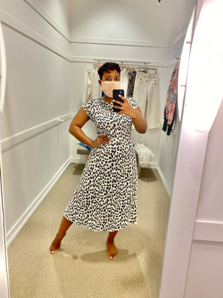 Leopard Print Flutter Sleeve Midi Dress this dress is an easy WFH outfit or pretty spring dress just because! Currently on sale! #loftimist  #LTKworkwear #LTKunder100 #LTKsalealert