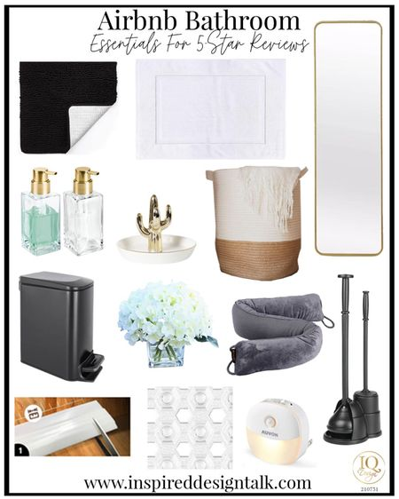 Bathroom decor for your Airbnb.  Bathroom inspiration, home decor, bathroom design, bathroom essentials, bathroom mirror, amazon finds   You can instantly shop my looks by following me on the LIKEtoKNOW.it shopping app   #LTKhome #LTKstyletip #LTKtravel