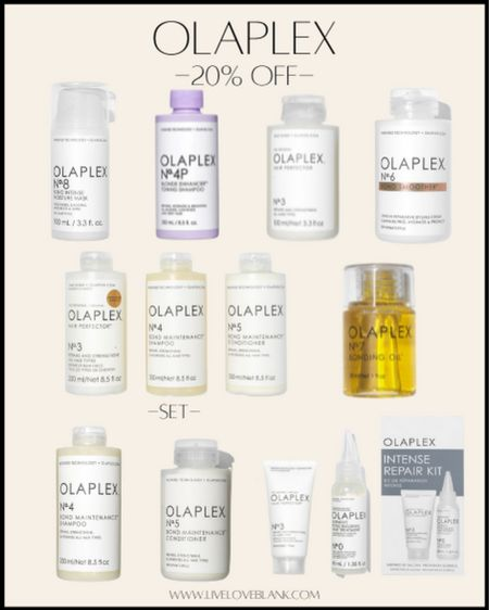 The best hair repair line …Olaplex …save 20% ! The only product here I haven't tried and loved is the newly released blonde shampoo…everything else I use and love..:highly recommend!!! Helps restore over processed and dried hair   #LTKsalealert #LTKbeauty #LTKunder50